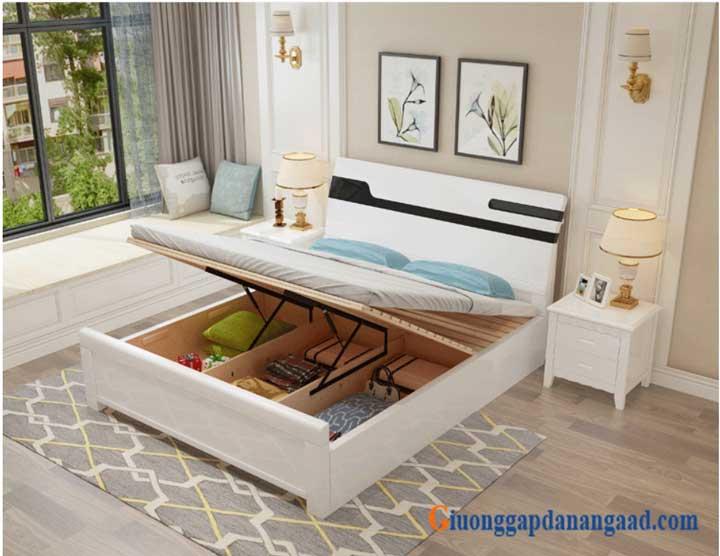giường ngủ màu trắng nâng dát giường
