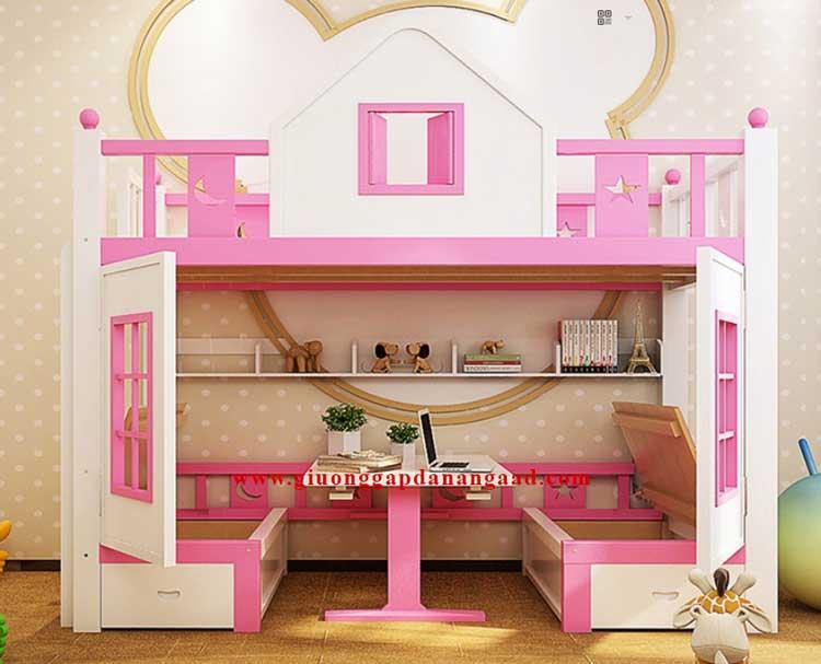 giường tầng có bàn gấp bên dưới