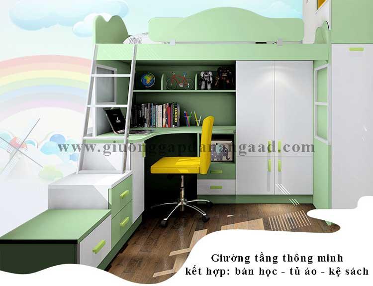 giường tầng kết hợp bàn học cho bé