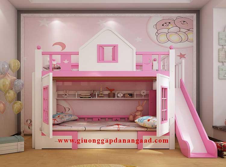 Giường tầng kết hợp bàn gấp thông minh cho bé gái