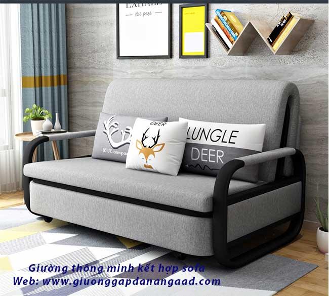 giường thông minh kết hợp sofa màu xám