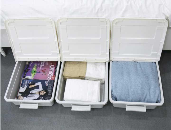hop để đồ bên dưới giường