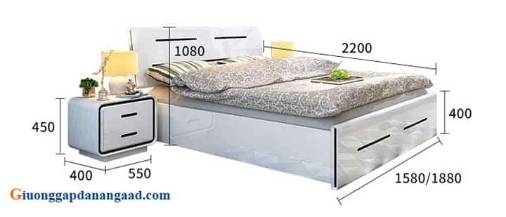 kích thước giường ngủ màu trắng hiện đại
