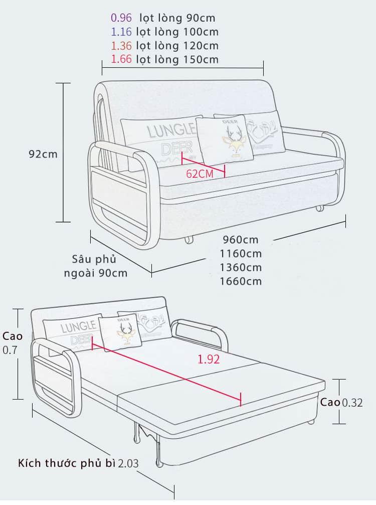kích thước giường ngủ gấp sofa 2 trong 1