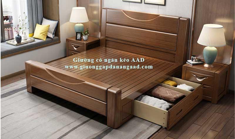 Giường gỗ óc chó có ngăn kéo sang trọng